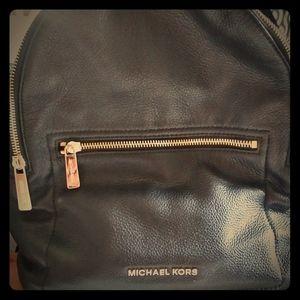 Mk black leather back pack